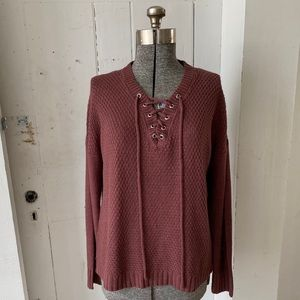 Rue 21 Mauve Laced Pullover Sweater Size XL